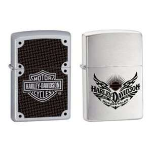 Zippo Lighter Set   Harley Davidson Carbon Fiber Name Logo and Brushed