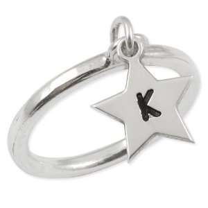 Sterling Silver Star Initial Ring Jewelry