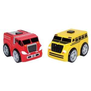 Kid Galaxy Ratchet Racers Fire Truck/School Bus Set Toys & Games