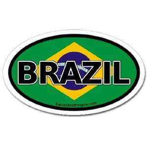 Brazil and Brazilian Flag Car Bumper Sticker Decal Oval