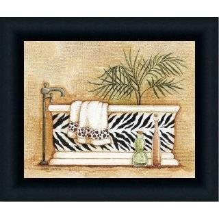 Safari Iv Zebra Leopard Decor Bath Room Print Framed