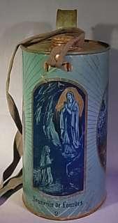 SOUVENIR DE LOURDES TIN HOLY WATER CAN ANTIQUE EUROPEAN CHRISTIANITY