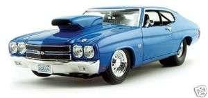 BLUE 1:18 1970 CHEVROLET CHEVELLE PRO STREET/STRIP DIECAST MODEL