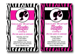 Custom Barbie Hot Pink White Zebra Print Birthday Party Invitations