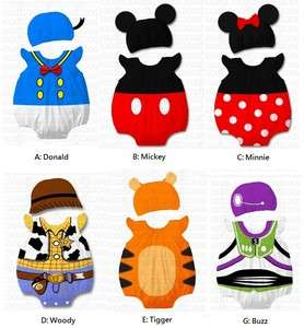 Baby Boy Girl Clothes, Cartoon Character Costume w Hat, Mickey, Minnie