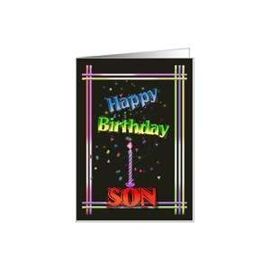 Colorful Happy Birthday Art For Son Card: Health