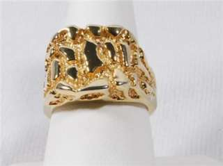 VINTAGE Mens FAUX Heavy ~ Yellow Gold Nugget Ring Band Sz 10
