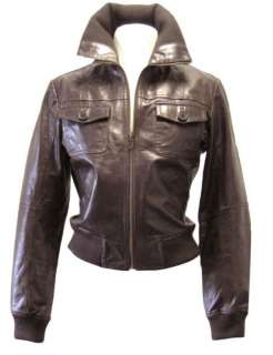 WOMENS GENUINE LEATHER JACKET MILITARY STYLE (black, brown, red, honey