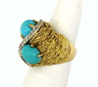 DESIGNER JGJLRY 18K GOLD, DIAMONDS & TURQUOISE RING