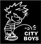 WHITE Vinyl Decal   Boy Pee on City Boys country attitude fun sticker
