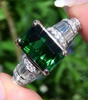 Estate 6.56ct Natural Chrome Green Tourmaline Diamond Vintage Ring 14k