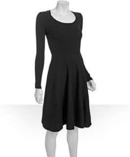 Wyatt black wool cashmere flared skirt sweater dress   up to