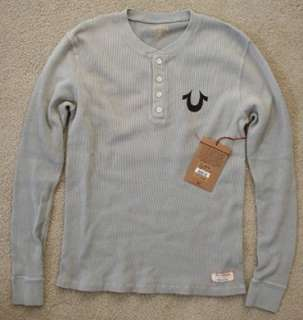 NWT True religion mens thermal shirt Pebble grey