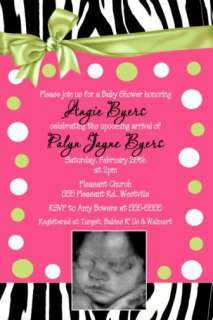 ZEBRA Hot Pink Lime Green Sassy Baby Shower Invitation