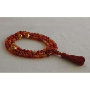 6mm Red Agate and Citrine Mala Prayer Beads