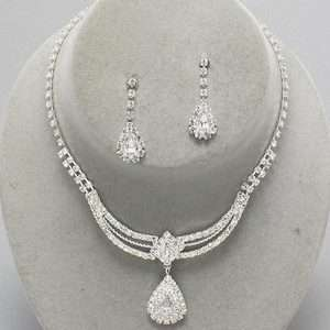 Silver Circular Charm Oval Pendant Clear Rhinestone Earrings Necklace