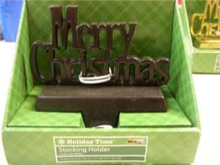 MERRY CHRISTMAS~BLACK~CHRISTMAS STOCKING HOLDER~NEW IN PACKAGE~HOLIDAY