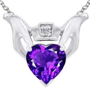 10K Gold Genuine Heart Shaped Amethyst and Diamond Claddagh Love