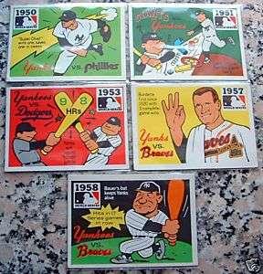1968 FLEER LAUGHLIN WORLD SERIES 5 CARDS Yankees Braves