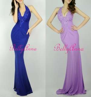 Sexy V Neck Prom Party Evening Gown Fitted Bridesmaid Long Maxi Dress