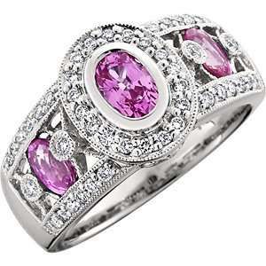 Pink Sapphire and Diamond ring in 18kt white gold Amoro