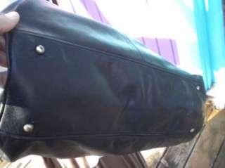 DKNY Donna Karan New York Extra Large Black Leather Satchel Tote Bag