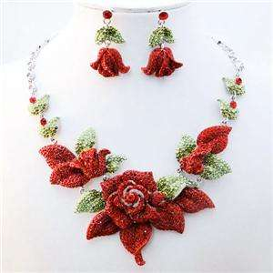 Red Flower Rose Necklace Earring Set Swarovski Crystal