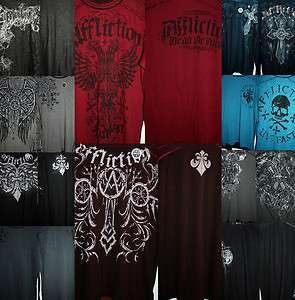 NWT Affliction Reversible Thermal Shirts 2 Different Images on Each