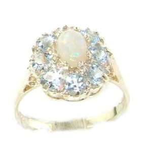 Luxury Ladies Solid White Gold Natural Opal & Aquamarine Large Cluster
