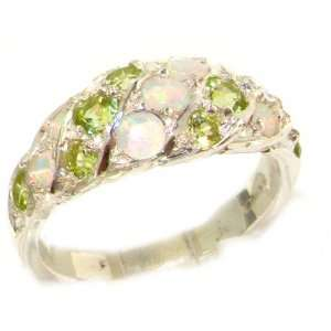 Luxury Ladies Solid White Gold Natural Fiery Opal & Peridot Band Ring