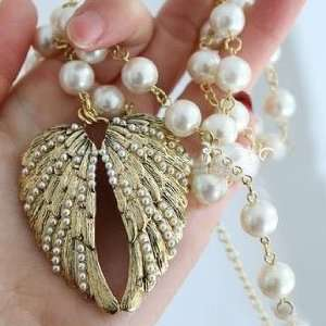 LadyGirl Christmas On Sale Angel Wings Crystal Necklace Long Pattern