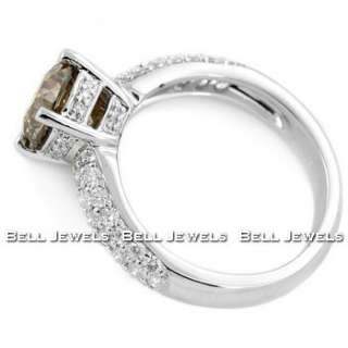 69CT VS1 FANCY COGNAC BROWN DIAMOND ENGAGEMENT RING 18K WHITE GOLD