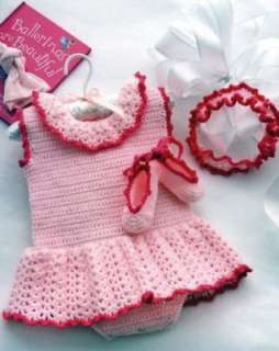 Baby Dresses Bonnets Crochet Patterns Book Booties Bibs Its a Little