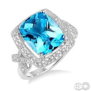 12x10MM Cushion Cut Blue Topaz and 1/6Ctw Round Cut Diamond Ring in