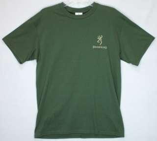 Browning T Shirt Olive Vintage Flight Buckmark Deer Logo Duck Hunting
