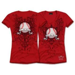 Red Peace Love Baseball Rhinestone Bling Sports V Neck T Shirt