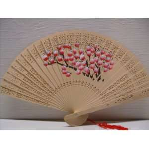 Scented Handpainted Carved Floral Hand Folding Fan Home