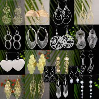 wholesale lot 9pair silver gold plated dangle fashion big earrings