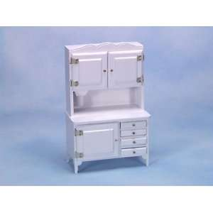 Dollhouse Miniature White Flourbin Hutch