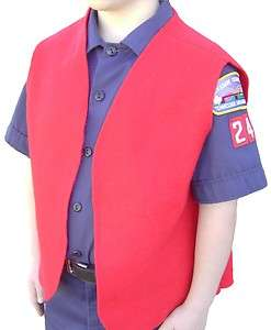 Cub Boy Scout Red Felt Patch Vest (Large)