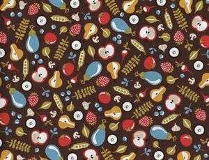 Fabric Mod Kitchen Fruit Vegetable Brown Apple Strawberry Cotton