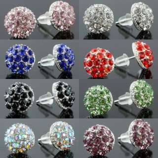 Lovely Crystal Rhinestone 10mm Round Mushroom Silver Plated Stud Ear