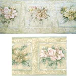 Rose Tile Scroll Pink Beige Flower Floral Wall Border