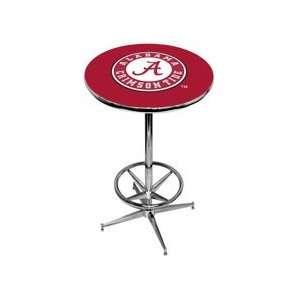 University of Alabama Pub Table   Crimson   Chrome Base