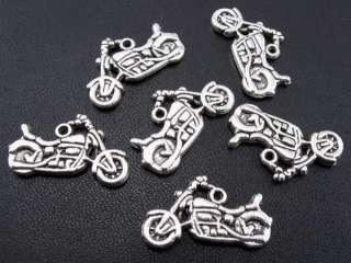 60PCS Tibetan Silver Motorcycle Charm Bead Pendants f#96