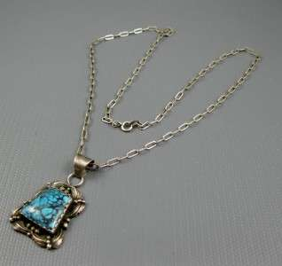Navajo Foliate Sterling Natural Lone Mountain Turquoise Necklace w