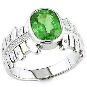 Green tsavorite and white diamond gold ring. Vanna