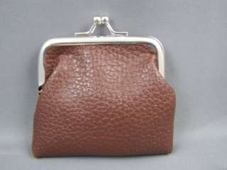 Brown textured faux leather coin change purse kiss lock