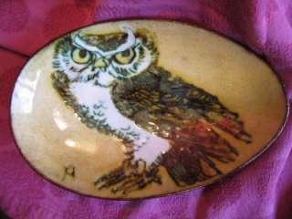 VTG Chelsea ART Pottery England Owl Dish Oval Plate