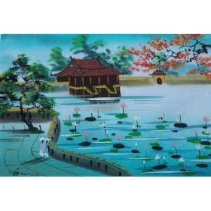 Vietnamese Silk Paintings   13 x 8.5 Lotus Pond   S504